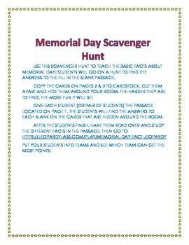 Memorial Day Scavenger Hunt Activity