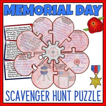 Memorial Day Scavenger Hunt Puzzle Activity