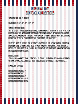 Memorial Day Sentence Corrections: Punctuation Review Worksheet