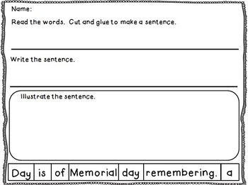 Memorial Day Sentence Puzzles