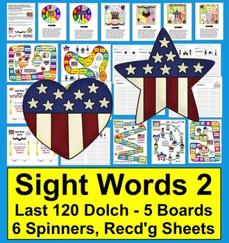 Memorial Day Sight Words Game Boards - LAST 120 Dolch