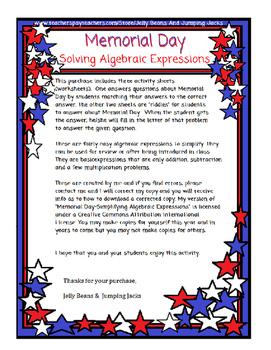 Memorial Day-Simplifying Algebraic Expressions