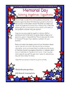 Memorial Day-Solving Algebraic Equations