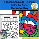 Memorial Day Speech Therapy Color By Code Grab and Go Activity