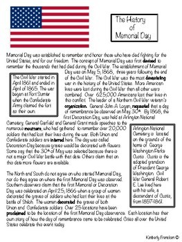 Memorial Day: Teach History with Informational Text passages & printables