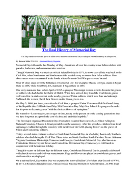 Informational Text - Memorial Day: The Real History (No Prep/Sub Plans)