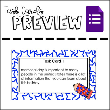 Memorial Day Themed Sentence Correcting Task Cards