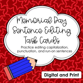 Memorial Day Themed Sentence Correcting Task Cards