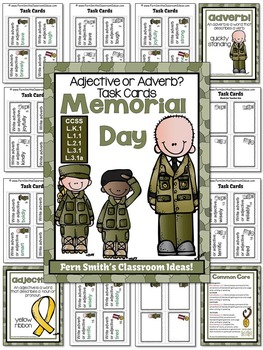 memorial day adjective or adverb task cards recording sheets and