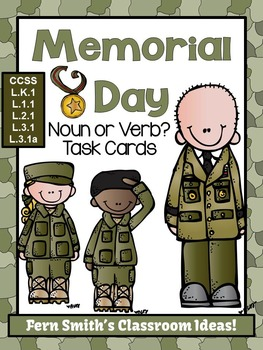 Memorial Day Noun or Verb Task Cards, Recording Sheets and Posters