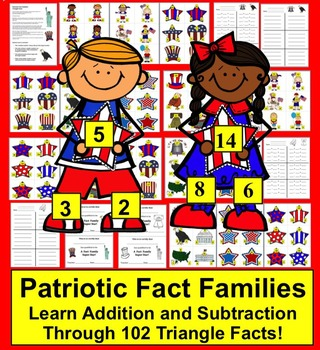Memorial Day Math Activities:  102 Triangle Fact Families - Differentiate!