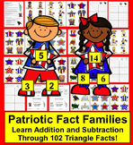 Fourth of July Math Activities:  102 Triangle Fact Families - Differentiate!