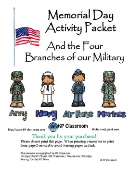 Memorial Day / U.S. Armed Forces Activity Packet