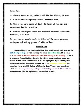 Memorial Day - Use Evidence for Answer