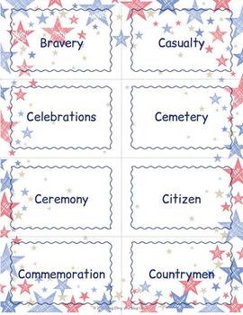 Memorial Day Vocabulary Cards