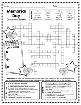 Memorial Day Vocabulary Crossword Puzzle Activity