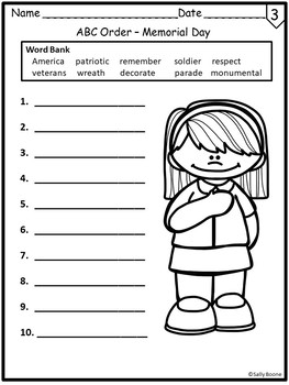 Memorial Day Vocabulary with Worksheets