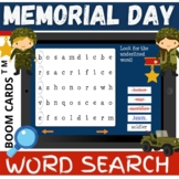 Memorial Day WORD SEARCH - Boom Cards Distance Learning NO PRINT