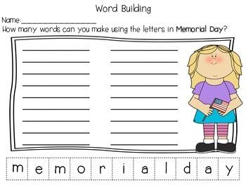 Memorial Day Word Building {FREEBIE!}
