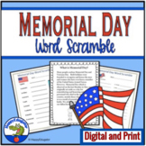 Memorial Day Activities - Word Scramble Puzzles and Informational Text