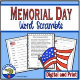 Memorial Day Activities - Word Scramble Puzzles & Informational Text w/ Digital