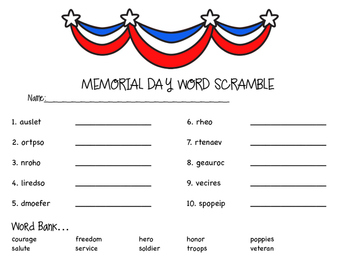 Memorial Day Word Scramble