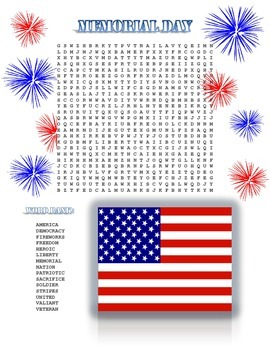 Memorial Day Activity: Word Search