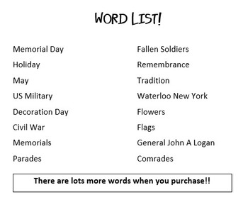 Memorial Day Word Search Challenge!