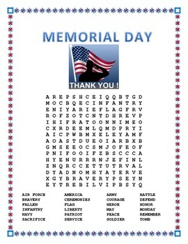memorial day word search by el jaguar teachers pay teachers