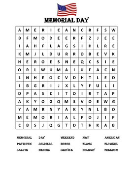 Memorial Day Word Search by Many Hats Educator | TpT