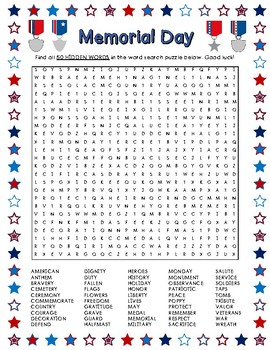 Memorial Day Word Search (50 Words) by LaRue Learning ...