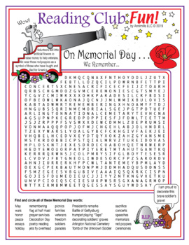 Memorial Day Word Search Puzzle by Reading Club Fun | TpT