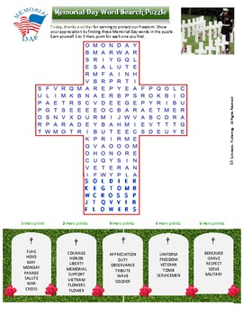 Memorial Day Word Search Puzzle for fun in all classes