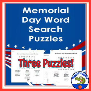 Memorial Day Word Search Three Word Puzzles By Happyedugator Tpt