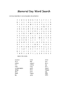 Memorial Day Word Search for Grades 4 Through 12