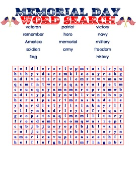 memorial day word search for kids by turtle rific teaching time tpt