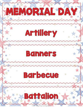Memorial Day Word Wall