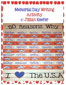 """Memorial Day Writing Activity-""""50 Reasons Why I Love the U.S.A."""""""