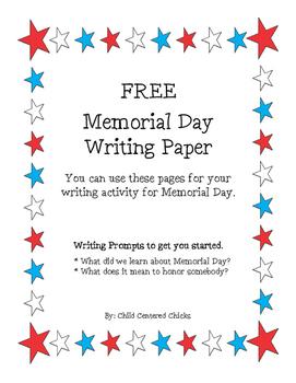 FREE Memorial Day Writing Paper