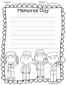 Memorial Day activities, mini book, writing, and posters