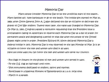 Memorial Day and The Wall by Eve Bunting:  Grades 3-6