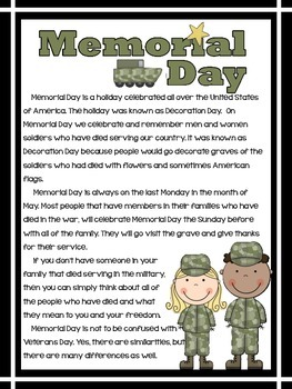 Memorial Day and Veterans Day