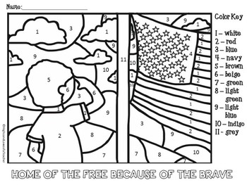 free memorial day and veterans day color by number coloring page
