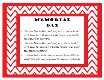 Memorial Day fiction and non fiction reading passages