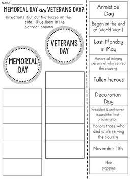 Memorial Day or Veterans Day? Cut and Paste Sorting Activity