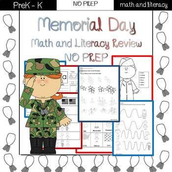 Memorial Day/End of the Year Review: PreK-Preschool NO PREP (Math & Literacy)