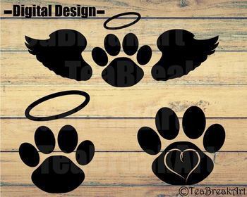 Memorial Pet Paw Monogram Digital Cutting Files ClipArt svg png eps dxf 737C