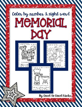 Memorial Weekend Color by Numbers and Sight Words