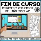 Memorias fin de curso | Summer | End of the school year activities in Spanish