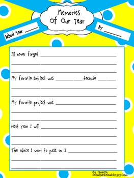 Memories of Our Year Graphic Organizer